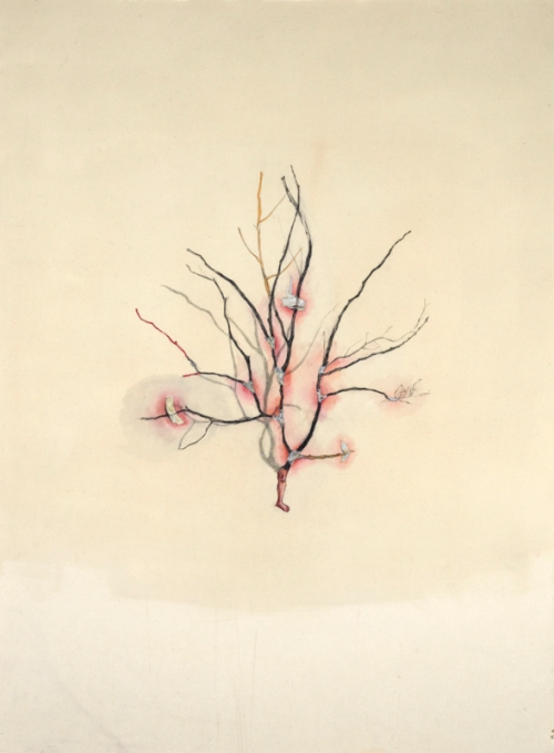 Yiwon Park, 2012, I was there, mixed media drawing on cotton,120 x 90cm