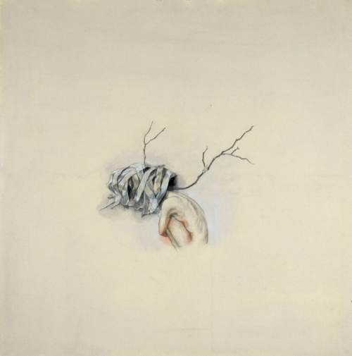 Yiwon Park,2012, I was there, mixed media on cotton, 100 x 100cm (1)